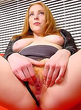 True Redhead Teen with Big Boobs and Pale Nipples Is A Little Bit Shy To Spread Her Red Haired Muff Pussy Lips Here