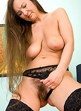 hairy girls, Sveta's new black lingerie
