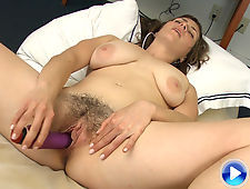 Tanya gives her hairy body a purple treat
