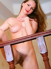 hairy armpits, Irina S mounts the stairs in nothing but hair