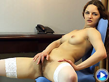 Hairy woman Ginger looks angelic in white lingerie