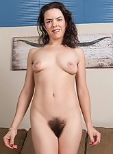hairy armpits, Lucia wears pink and strips to play with pink lips